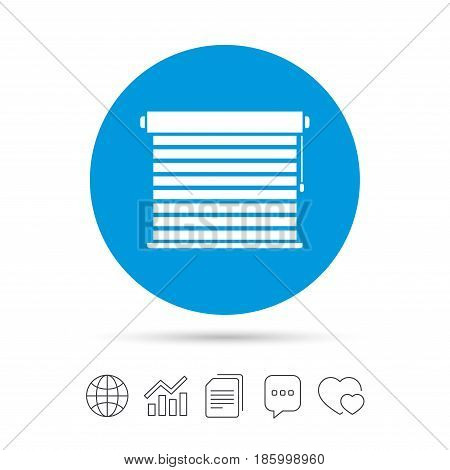 Louvers sign icon. Window blinds or jalousie symbol. Copy files, chat speech bubble and chart web icons. Vector