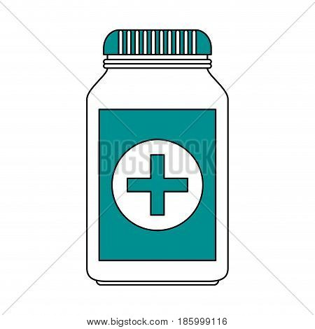 medication pills healthcare icon image vector illustration design partially colored