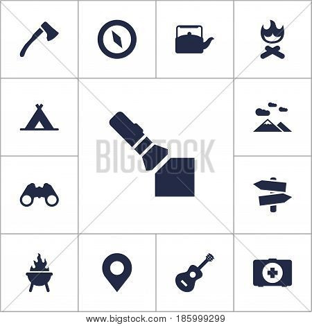 Set Of 13 Outdoor Icons Set.Collection Of Acoustic, Kettle, Magnet Navigatior And Other Elements.