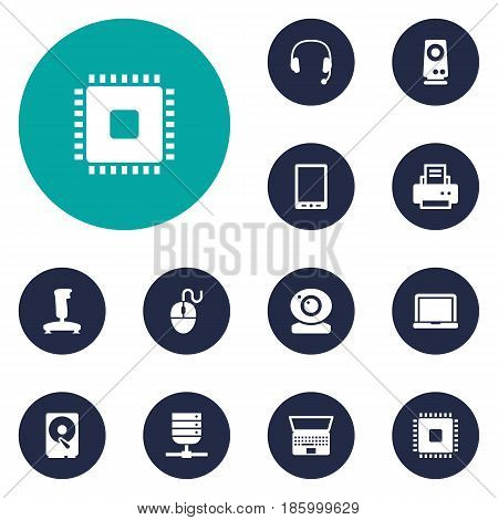 Set Of 12 Laptop Icons Set.Collection Of Control Device, Hard Disk, Laptop And Other Elements.