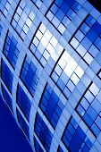 Abstract diagonal square crop of blue business office skyscraper poster