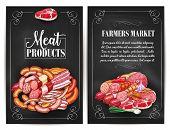 Meat products of farmers market. Butchery shop meat delicatessen of ham or bacon brisket, butcher gourmet gastronomy of frankfurter or saveloy sausages and cervelat, pork lard, salami and steak poster