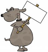 This illustration depicts a dog holding a blank sign. poster