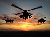 Silhouette of helicopter over sunset 3d illustration montage poster