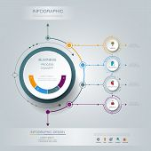 Vector Infographic 3D circle label design with arrows sign and 4 options or steps. Can be used for business, infograph, template, process, infographics diagram, chart, flowchart, processes diagram, time line poster