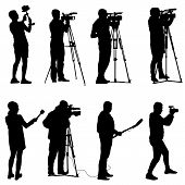 Set cameraman with video camera. Silhouettes on white background. poster