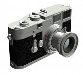 Three dimensional rendering of the left of a rangefinder camera with a 50mm lens. poster