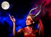 Black magic ritual of mad satan woman cry in hell. Halloween witch reincarnation mythical creature on Sabbath. Night sky , moon with fog. Mythical zodiac Horoscope Capricorn Aries , Taurus astrology. poster