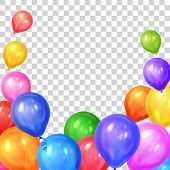Border of realistic colorful helium balloons isolated on transparent background. Party decoration frame for birthday anniversary celebration. Vector illustration poster