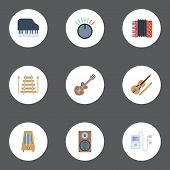 Flat Mp3 Player, Octave Keyboard, Rhythm Motion And Other Vector Elements. Set Of Melody Flat Symbols Also Includes Musical, Box, Mp3 Objects. poster