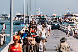 Chonburi, Thailand - November 2, 2012: Tourists Walking in Bali Hai Pier near Pattaya Beach the Route to Koh Larn (Ko Lan) Famous Attraction in Thailand