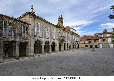 Pontevedra, Galicia, Spain; September 2018: Pedreira Square In The Historic Center Of The City Of Po