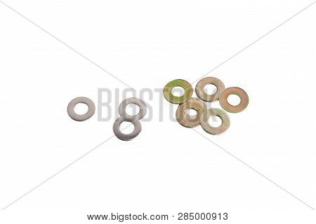 Closeup Of M5 5mm Fender Washers, Isolated On White