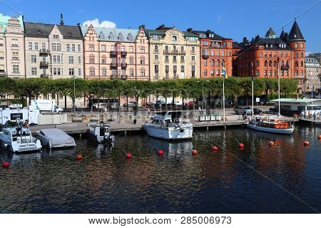 Stockholm, Sweden - August 24, 2018: City View Of Strandvagen Area In Stockholm, Sweden. Stockholm I