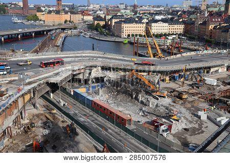 Stockholm, Sweden - August 23, 2018: Redevelopment, Construction And Demolition Works In Stockholm,