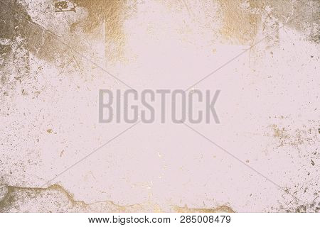 Light Pink Texture with Gold. Luxury Texture. Pink Gold Background.