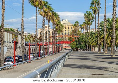 Barcelona, Spain - November 10, 2018: Passeig De Colom, A Wide Avenue Lined With Palm Trees, With A