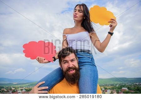 Difference Between Men And Women. Thoughts Of Different Sex. Bearded Hipster And Girl With Speech Bu