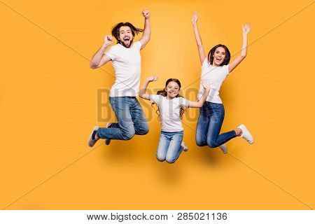 Full Length Body Size Portrait Of Nice Lovely Adorable Attractive Positive Cheerful People Dad Daddy