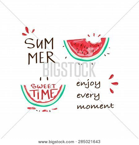 Tropical Happy Summer Slogan With Watermelon Illustration, T-shirt Graphic, Tee Print Design. For T-