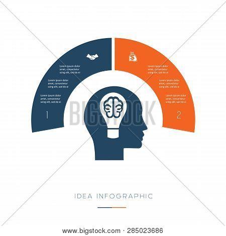 Head, Lightbulb, Brain. Conceptual Idea Infographic. Vector Template 2 Positions For Text Area, Poss