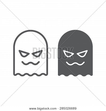 Ghost Line And Glyph Icon, Horror And Character, Horror Sign, Vector Graphics, A Linear Pattern On A