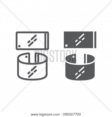 Flexible Smartphone Line And Glyph Icon, Gadget And Technology, Phone Sign, Vector Graphics, A Linea