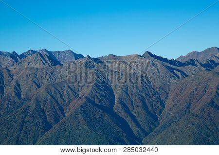 The Ridges Of The Caucasus Mountains. Mountains On The Horizon.