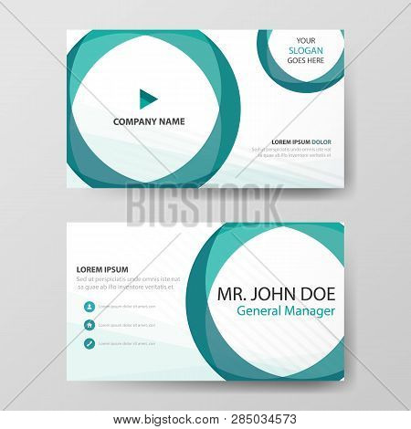 Green Circle Corporate Business Card, Name Card Template ,horizontal Simple Clean Layout Design Temp