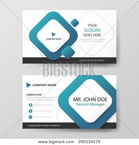 Blue Square Corporate Business Card, Name Card Template ,horizontal Simple Clean Layout Design Templ