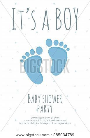 Baby Shower Party For Future Mommy Of Boy Template With Blue Toddler Footsteps.