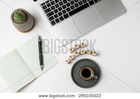 Job Search Human Resources Recruitment Career Concept - Job Word On Rubber Stamps, Coffee Cup, Keybo