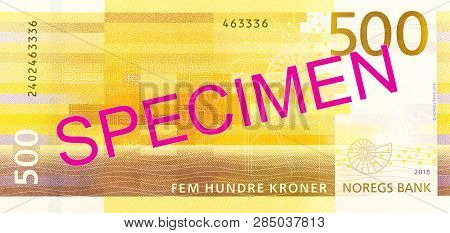 A New 500 Norwegian Krone Banknote Reverse Specimen