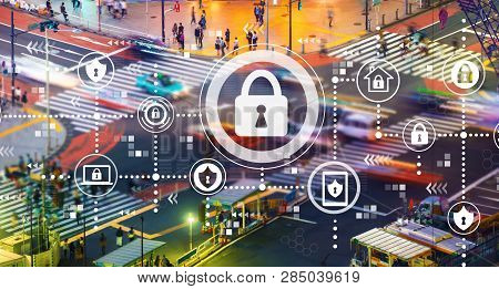 Cyber Security With Busy City Traffic Intersection