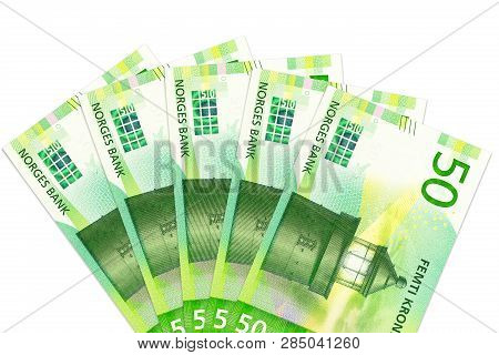 Some New 50 Norwegian Krone Bank Notes With Copy Space