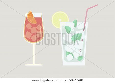 Set Of Two Glasses With Cocktails Mojito, Spritz, With Ice And A Slice Of Lemon And Orange, And Leaf