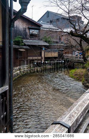 Kyoto, Japan - January 3, 2019 : Traditional Japanese Houses On Shirakawa River At Gion Ward