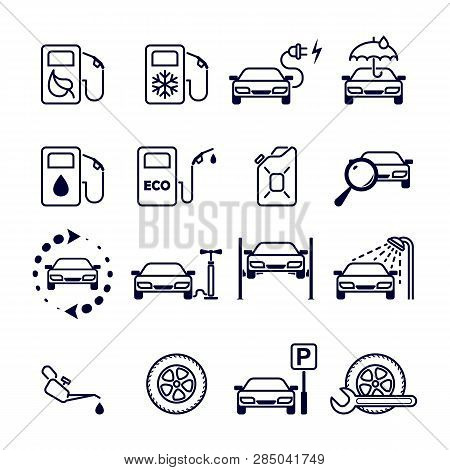 Black And White Flat Isolated Vector Icons Set For Site - Gas Station, Eco Petrol, Winter Gasoline,