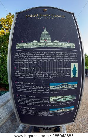Washington Dc, Usa - September 4, 2018: Information Board With Explanations Of The Decorative Elemen
