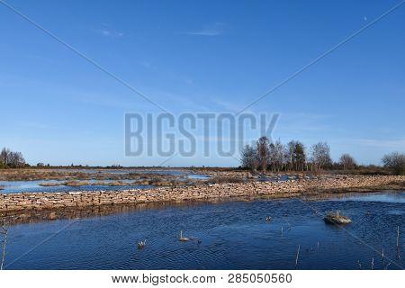 Flooded Great Grassland By Spring Season At The Swedish Island Oland