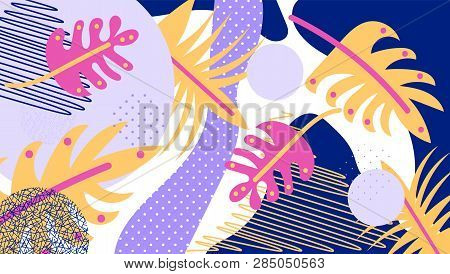 Jungle Background Tropical Leaves.tropical Leaves, Jungle Pattern. Forest Foliage. Vector Floral Bac