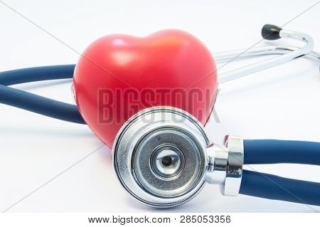 Stethoscope Examines Heart Shape In Front And Twists Around. Concept Picture For Process Diagnostics