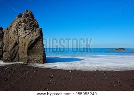 Rock Formation On Praia Formosa Beach - Famous Public Black Sand Beach On Portuguese Island Of Madei