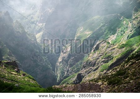 Scenic View Of The Gorge From Pico Do Arieiro On Portuguese Island Of Madeira