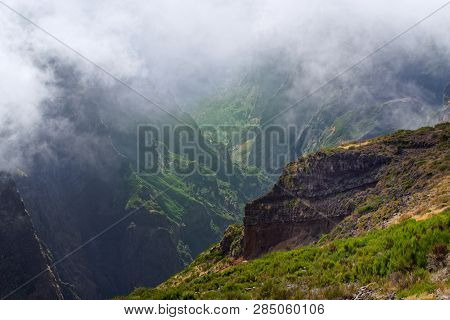 View Down From Pico Do Arieiro On Portuguese Island Of Madeira