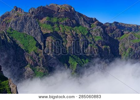 Mountain Peak Against Clear Blue Sky On Sunny Day. View From Pico Do Arieiro On Portuguese Island Of
