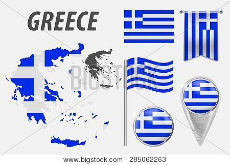 Greece. Collection Of Symbols In Colors National Flag On Various Objects Isolated On White Backgroun