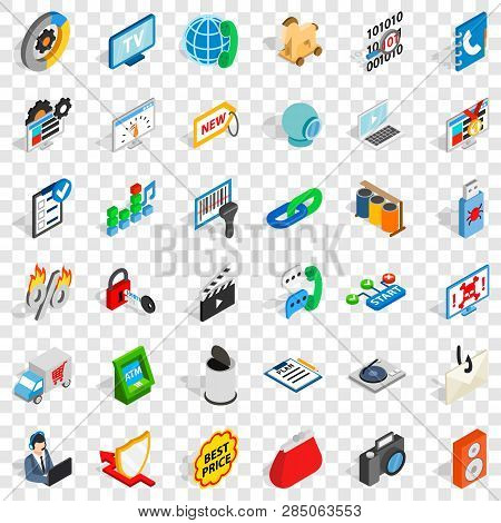 WWW spam icons set. Isometric style of 36 www spam vector icons for web for any design poster