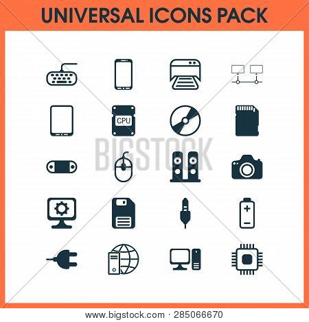 Computer Icons Set With Computer Mouse, Sd Card, Photocopy Machine And Other Desktop Computer Elemen