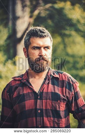 Brutal Lumberjack With Stylish Beard And Mustache Wandering In Wilderness. Ecologist Exploring The F
